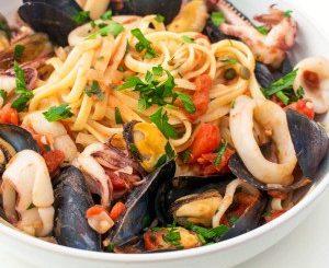 Italian Seafood Pasta with Mussels and Calamari recipe