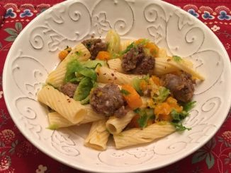Rigatoni with Butternut Squash, Brussels Sprouts and Italian Sausage Recipe