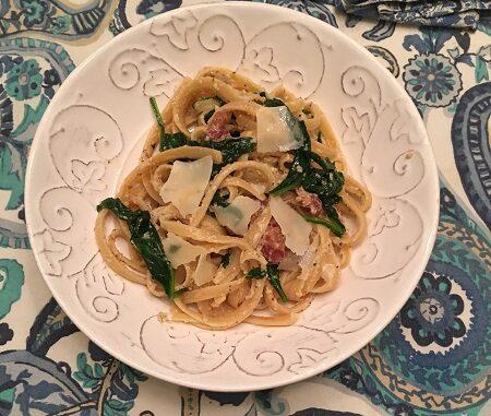 Spinach Fettuccine Carbonara Recipe
