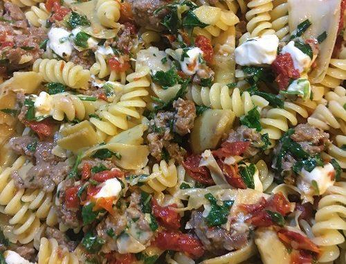 Fusilli with Sausage, Artichokes and Sun-Dried Tomatoes Recipe